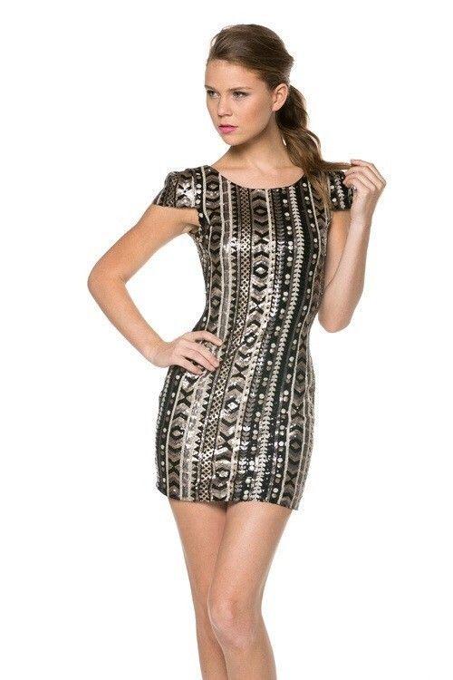 Black Cap Sleeve Sequin Dress
