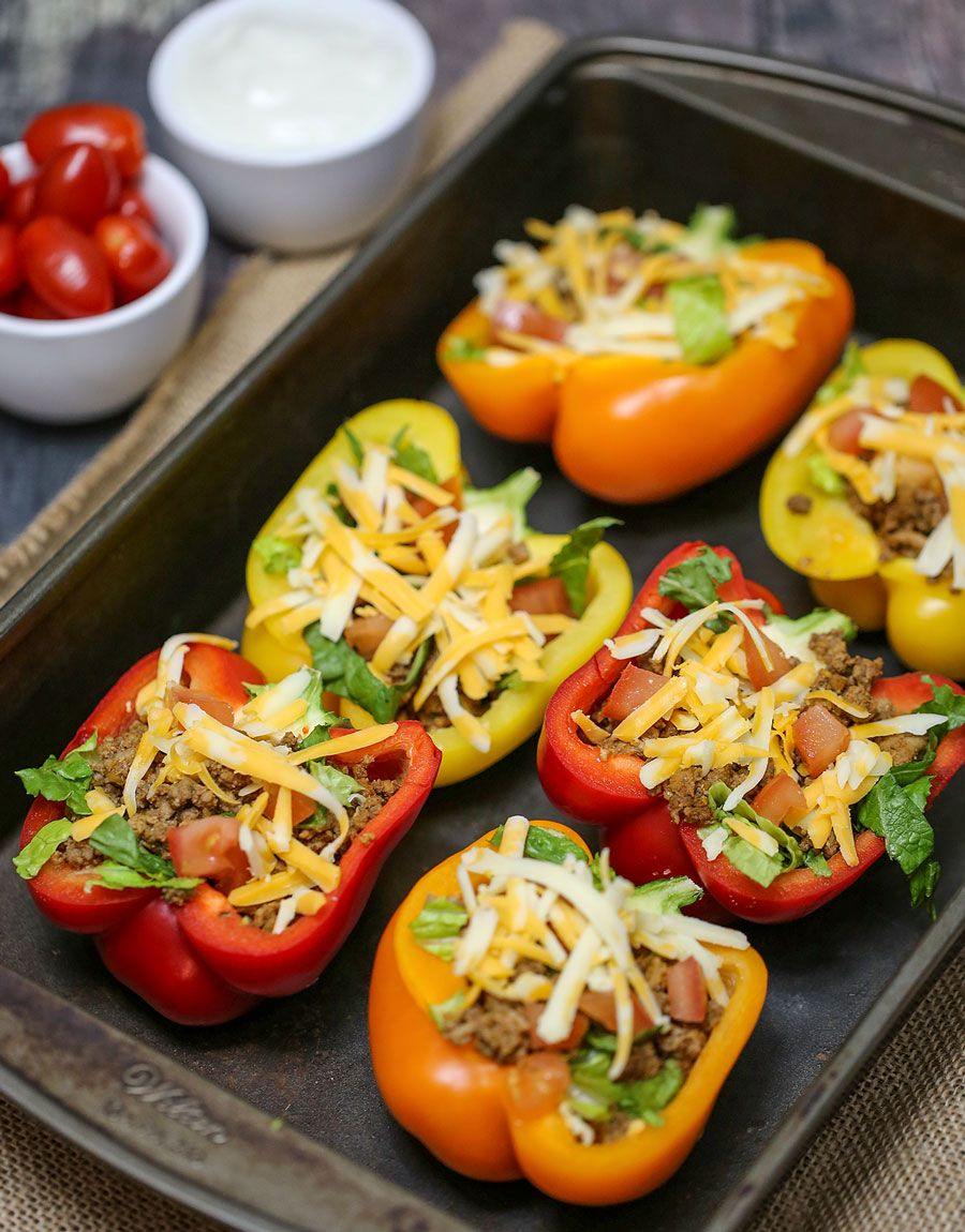 Bell Pepper Stuffed Tacos Are Baked With Your Favourite Taco Toppings Inside A Great Low Carb And Low Ca Stuffed Peppers Super Healthy Recipes Healthy Recipes