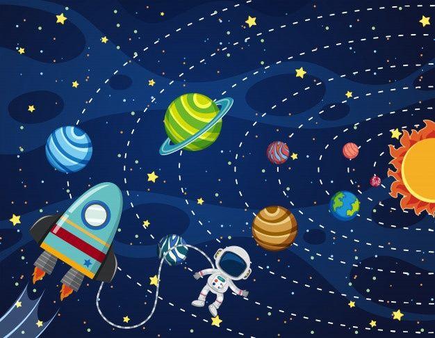 Astronauta En El Espacio Dibujos Del Espacio Decoracion Infantil Paredes Arte Del Sistema Solar