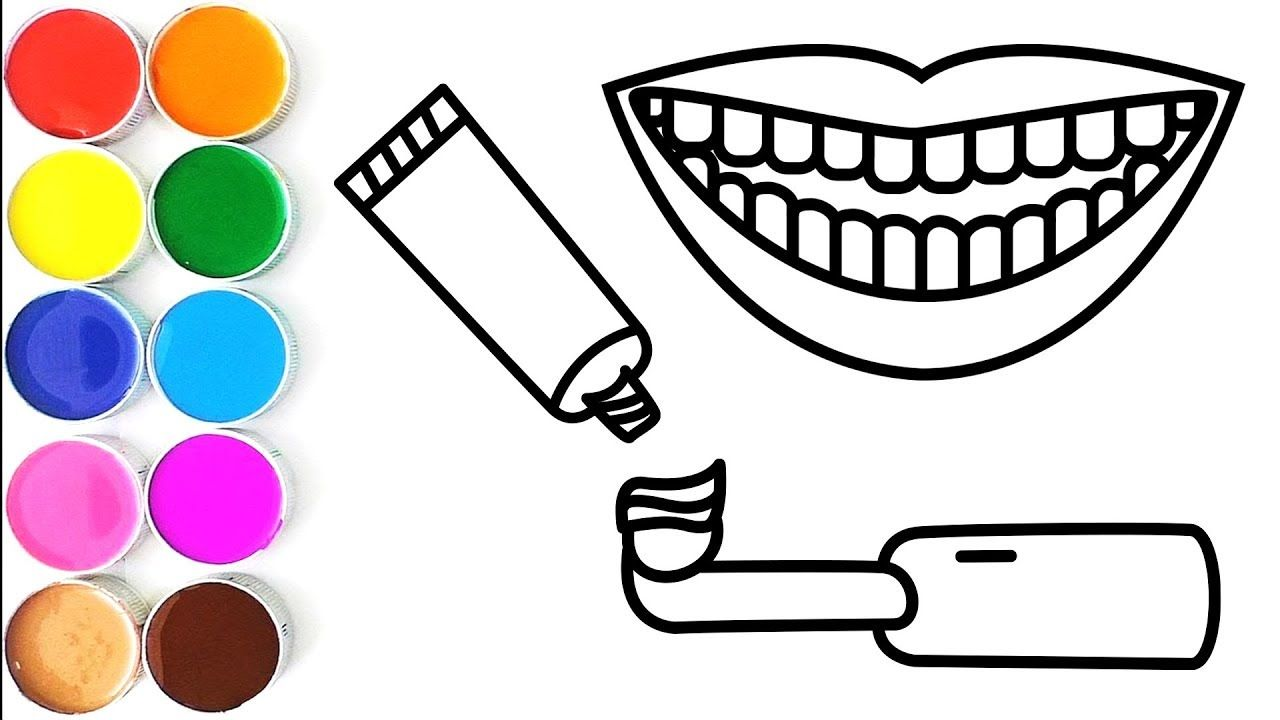 How To Draw Teeth Toothpaste And Electric Toothbrush Coloring