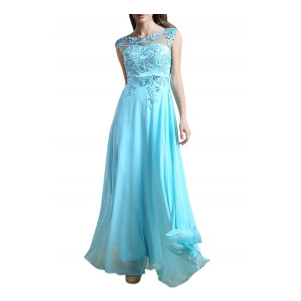Women's Sleeveless Flower Maxi Bridesmaid Evening Prom Dress (180 BRL) ❤ liked on Polyvore featuring dresses, blue, bridesmaid cocktail dresses, evening maxi dresses, blue prom dresses, blue dress and evening dresses