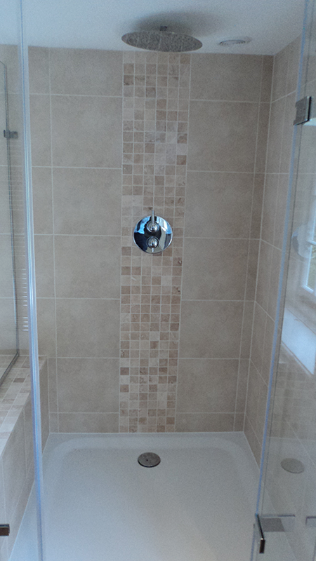 Marvelous Mosaic Tiles Make A Great Feature Strip In A Shower. Shown Here: Nova Roma  Travertine Tumbled Mosaics
