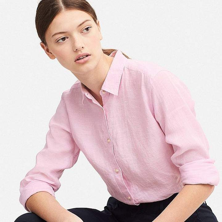 91d89985b739c Uniqlo Women s Premium Linen Long-sleeve Shirt