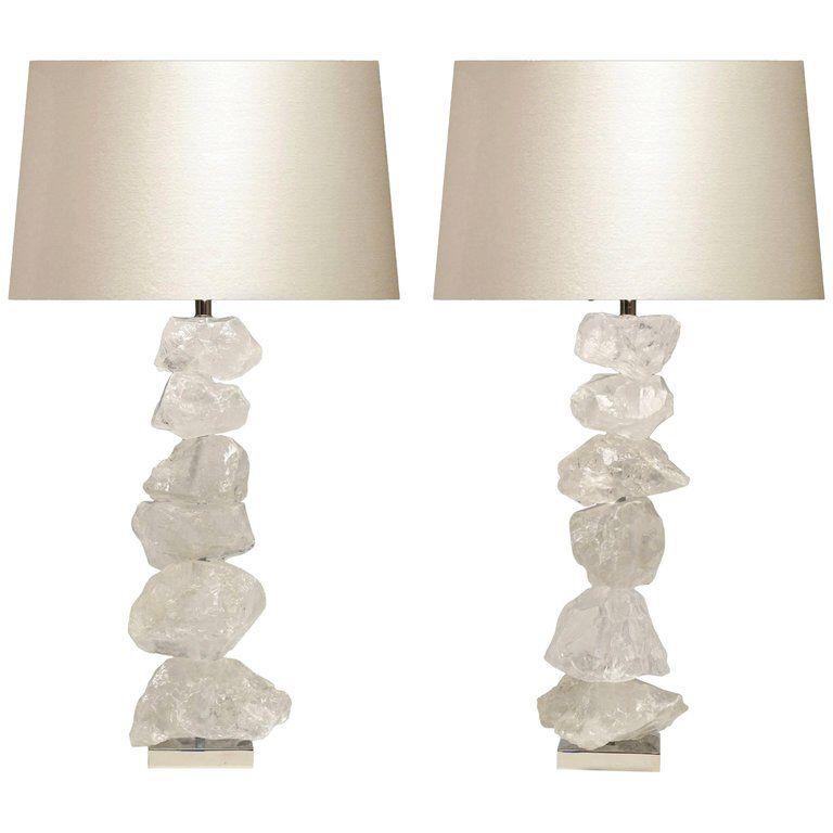 Pair Of Natural Form Rock Crystal Quartz Lamps Quartz Lamp Lamp