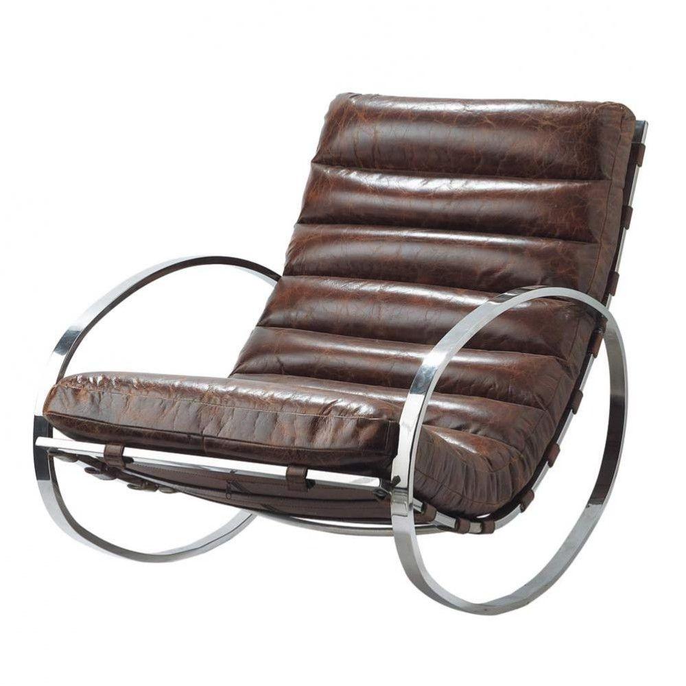 Fauteuil à bascule en cuir marron   Décoration intérieure   Chair ... e3c9774a4c89