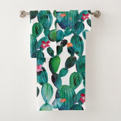 Scattered Desert Prickley Pear Cactus Bath Towel Set is part of Home Accessories Decor Awesome - Bold contemporary and graphic desert prickly pear Cactus Modern contemporary designs from professional artist to brighten and add designer flair to your bath