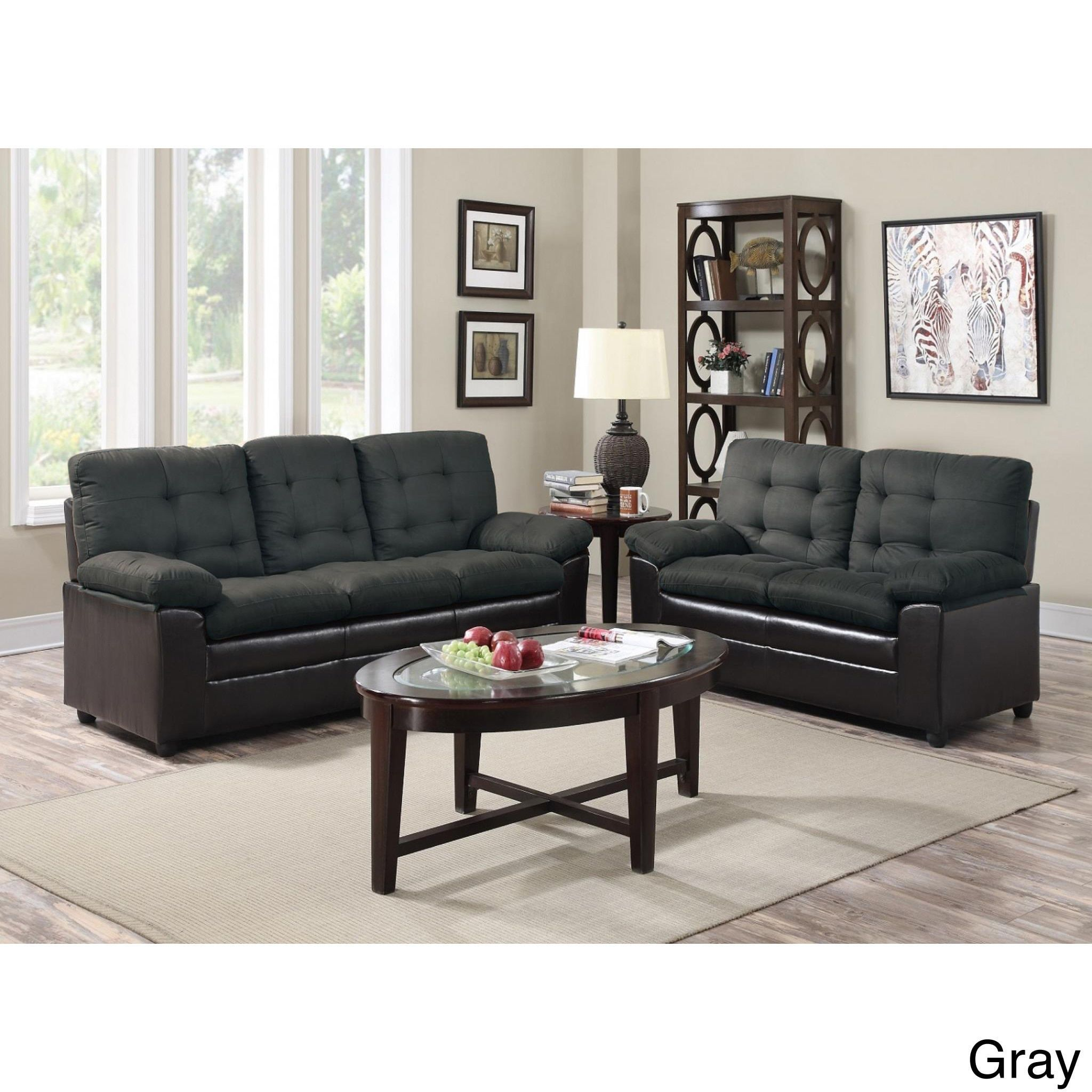 Two Tone Microfiber Sofa and Loveseat Set