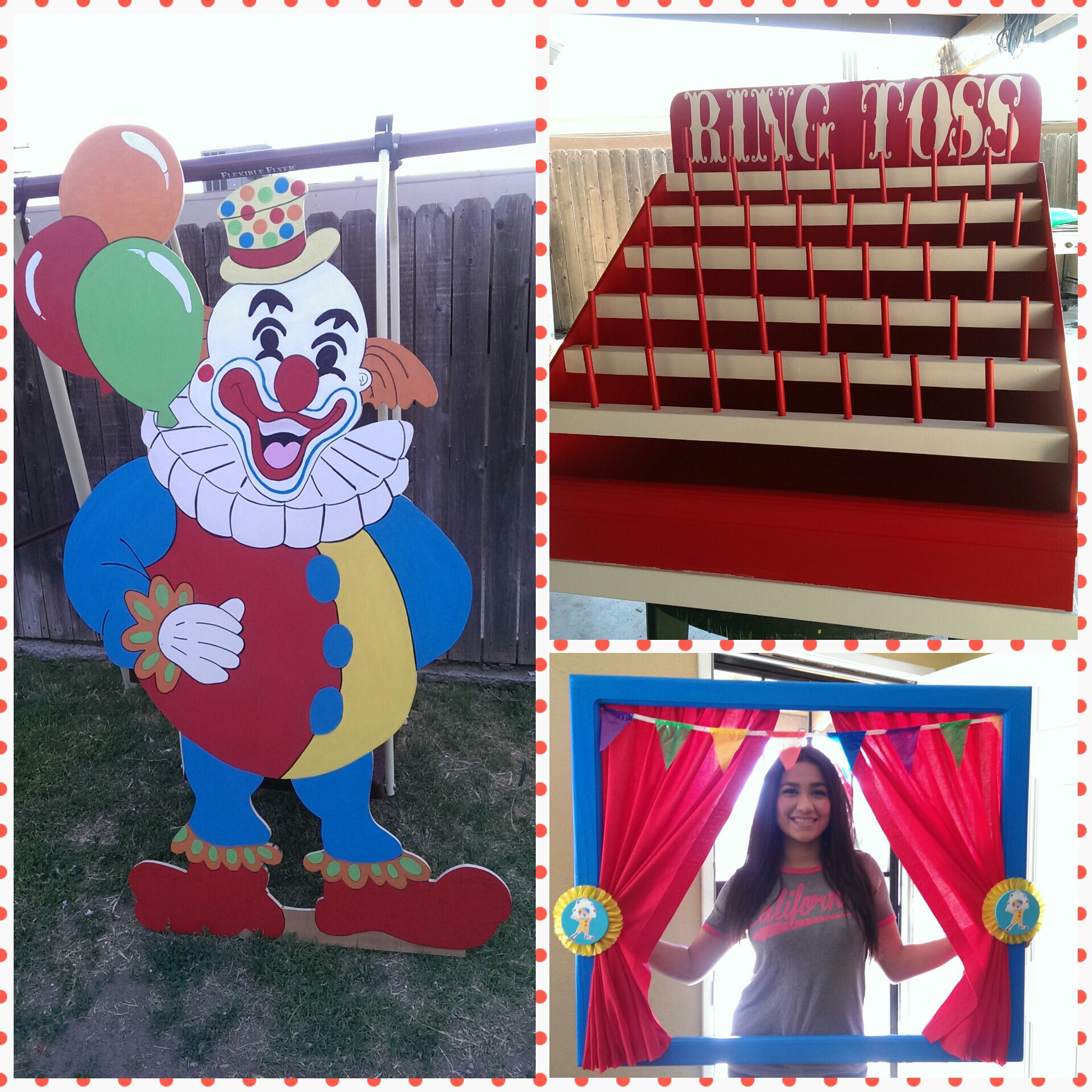 circus clown ring toss game circus carnival photo booth our wood