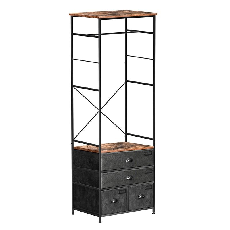 Wooden And Metal Open Wardrobe With Fabric Drawers For The Bedroom Vasagle In 2020 Furniture Open Wardrobe Wardrobe Sale