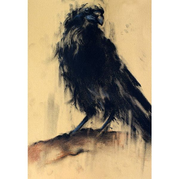 Original Crow on a Branch Drawing Charcoal Drawing Black White Art ...