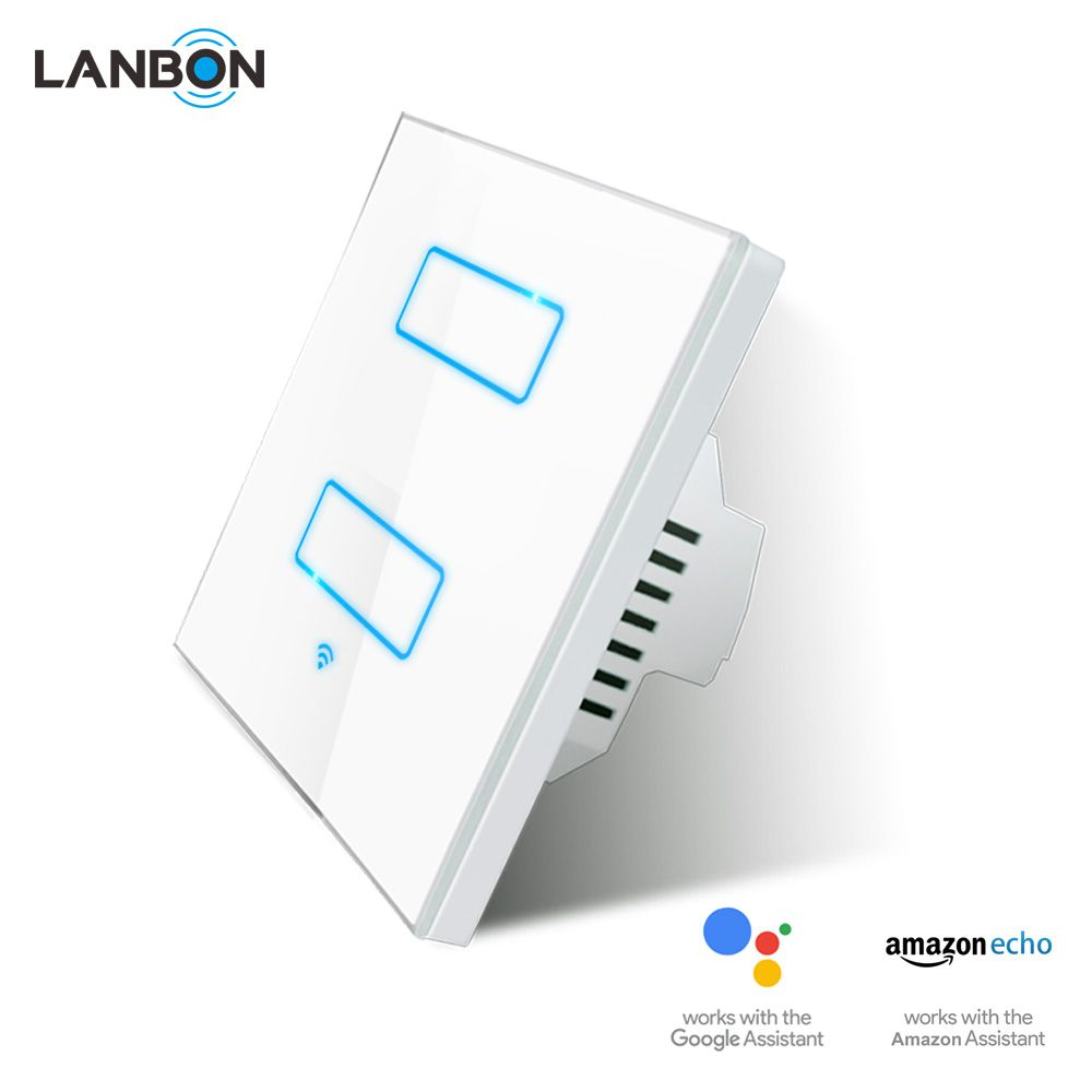 Lanbon Smart Wi Fi Switch Button Glass Panel 1 3 Gang Us Touch Light Way For Alexa Wifi Echo Wall 110240v