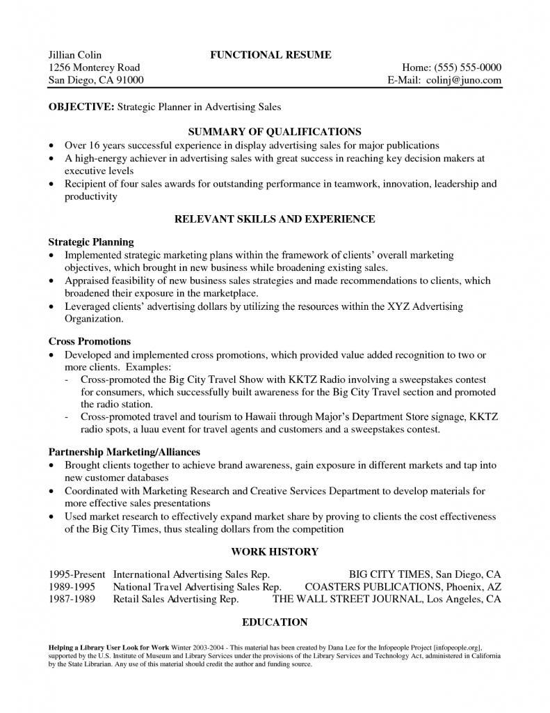 summary examples resume