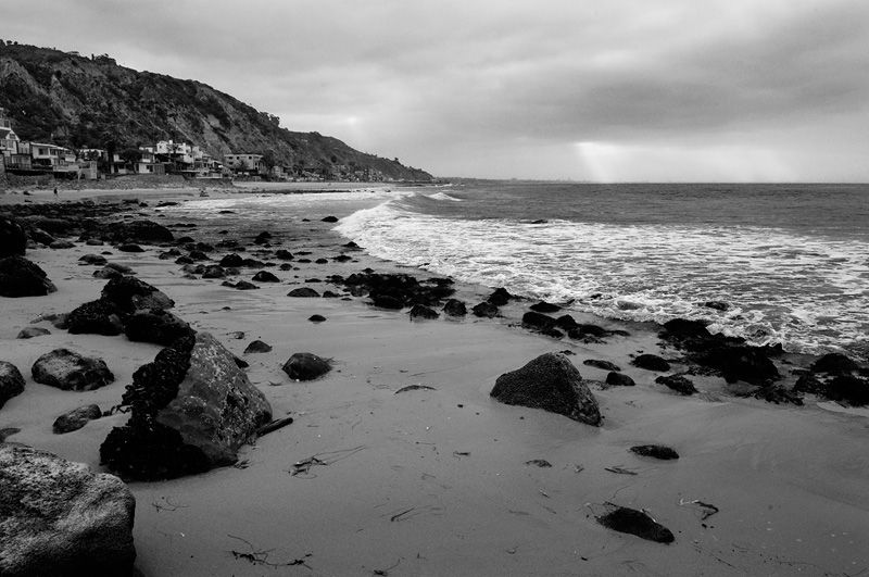 Malibu beach sunrise black and white