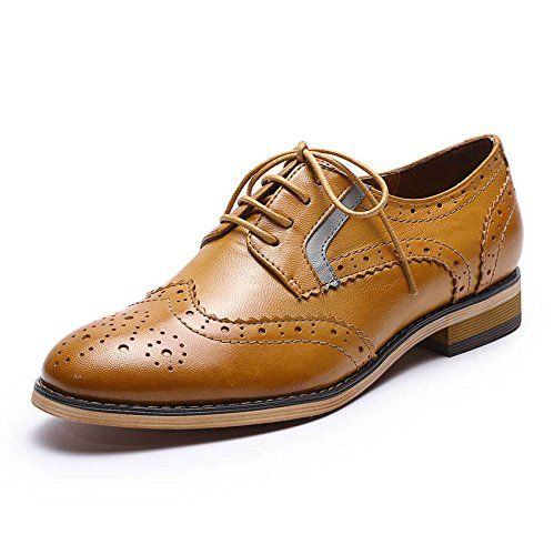 b921e1c1447f Mona Flying Womens Leather Perforated Lace-up Oxfords Shoes for Women  Wingtip Multicolor Brougue Shoes