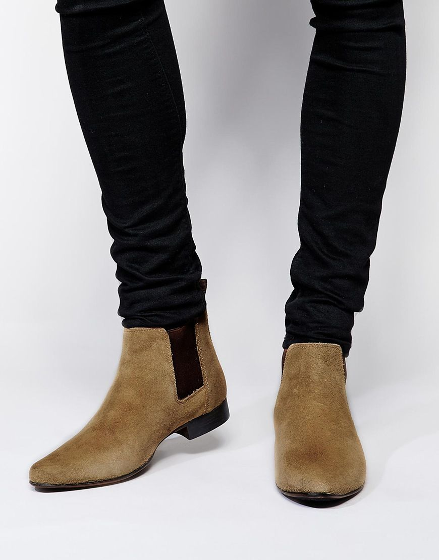 ASOS Chelsea Boots In Burgundy Suede