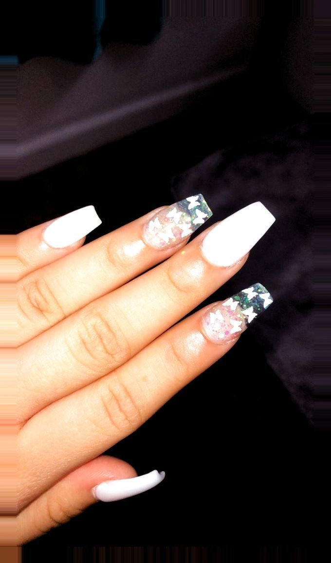 #acrylic #Baby #Blue #butterflies #designs #nail #nails #white acrylic nails #winter acrylic nails #acrylic #nails #butt