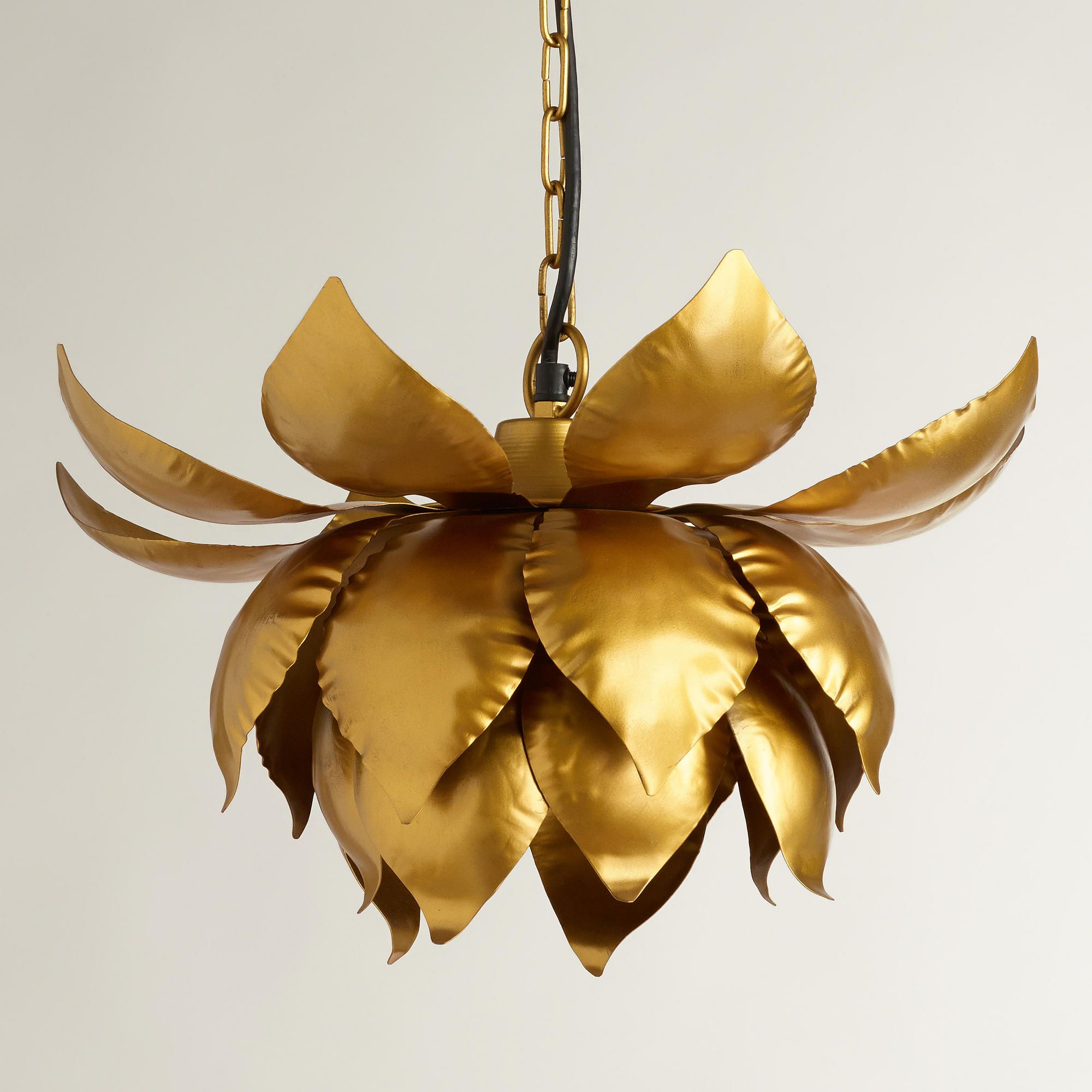 Gold Lotus Hanging Pendant Lamp Handcrafted In India 79