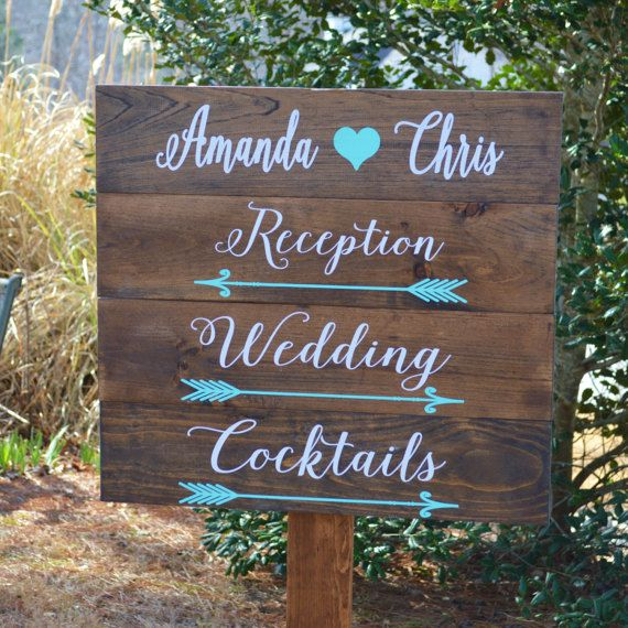 Wedding Directional Signs Wood With Stake Rustic Direction Personalized
