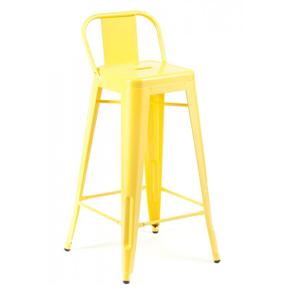 Yellow Tolix Style 75cm Stool With Low Back Rest
