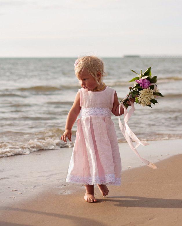 Pink Blumenmädchen Kleid - Leinen Mädchen Kleid | Blumenmädchen ...