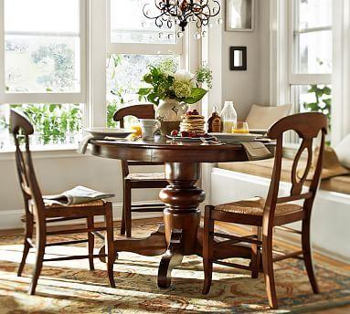 Tivoli Fixed Pedestal Table & Napoleon Side Chair Set Tuscan Custom Dining Room Sets Pottery Barn Inspiration