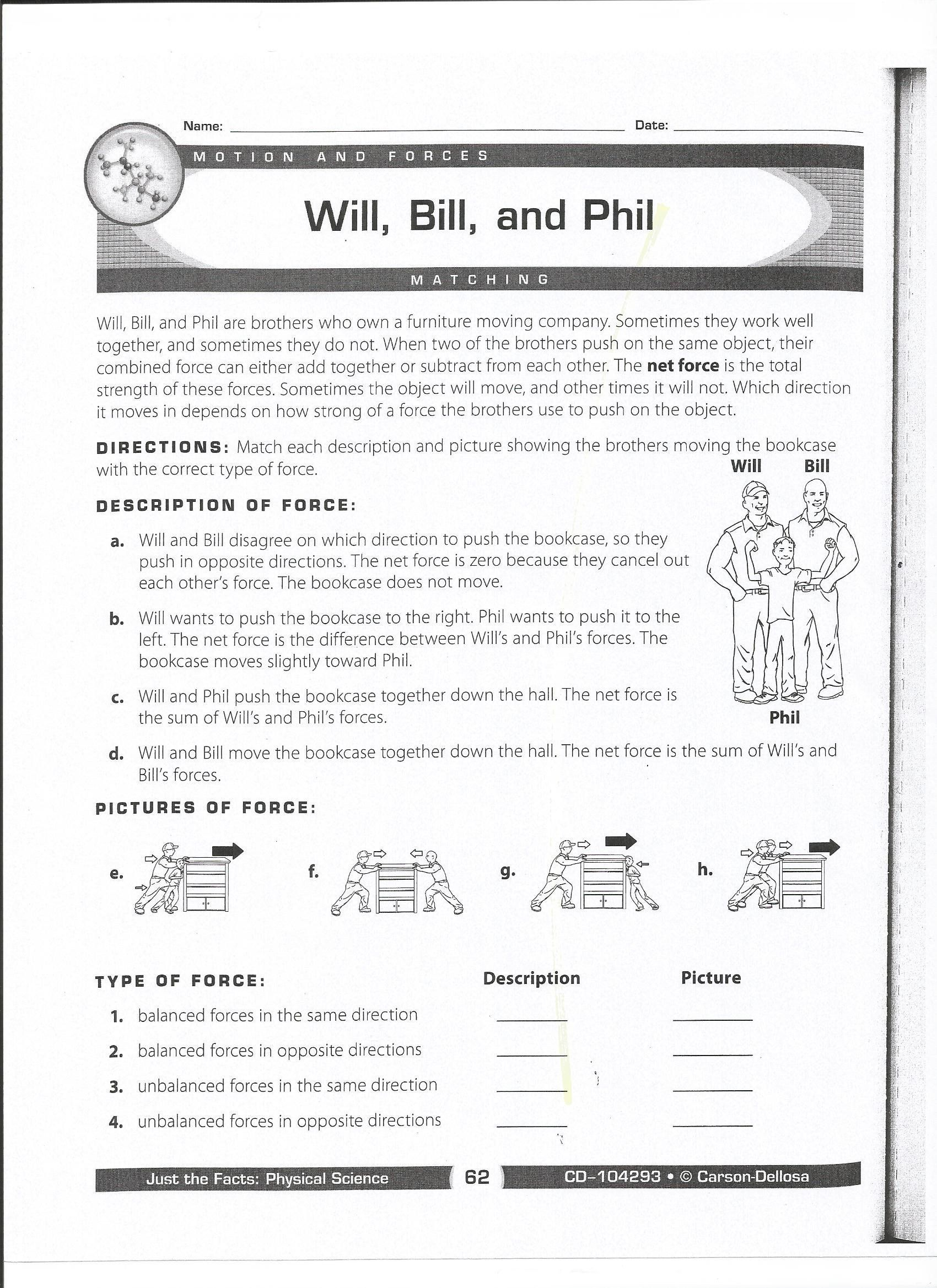 Force And Motion Printable Worksheets Phil Bill And Will