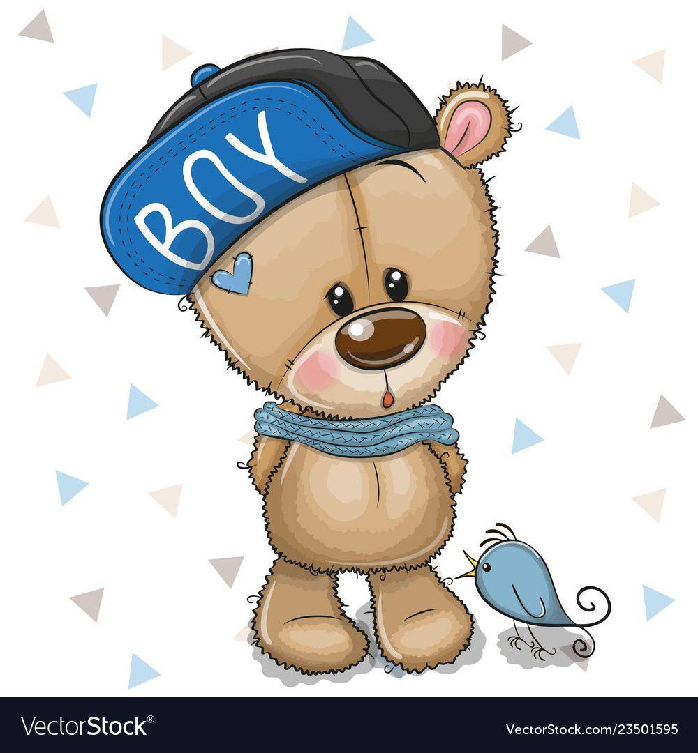 Cute Cartoon Teddy Bear With Flowers Royalty Free Vector Teddy Bear Cartoon Art Drawings For Kids Cute Teddy Bears