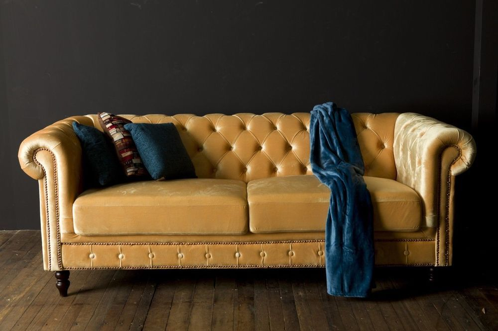 Brand New Blonde Yellow Velvet 3 Seater Chesterfield Sofa With