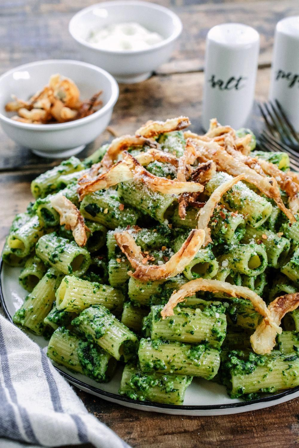 easy and delicious meatless meal, Rigatoni with Basil Walnut Pesto & Crispy Onions just might become your new favorite!  