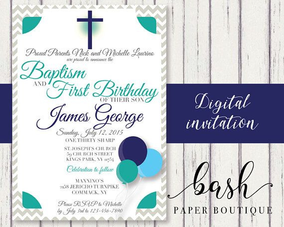 Baptism and Birthday Invitation First Birthday Baptism Baby