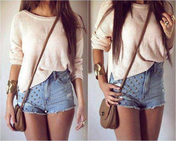Sweater: cute beige classy short pull sac shorts knit denim shorts studs cross body bag jeans outfit
