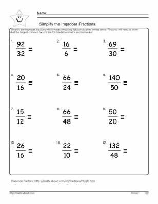 9 Worksheets On Simplifying Fractions For 6th Graders Fractions Worksheets Simplifying Fractions Math Fractions Worksheets