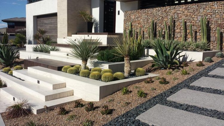 mur gabion, cactus, agave et allée en ardoise- terrassement pente