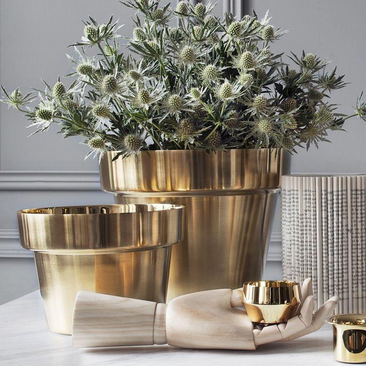 Planters For Indoor Plants Part - 22: Brushed Brass Flower Pot For Indoor Plants - Designed By Swedish Designer  Monica Förster, The