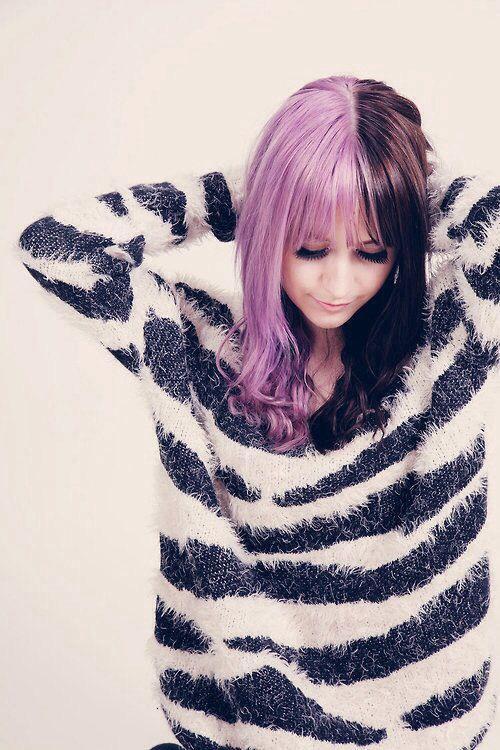 Half Purple Half Black Awesome Split Dyed Hair Hair Color For Black Hair Hair Inspo Color