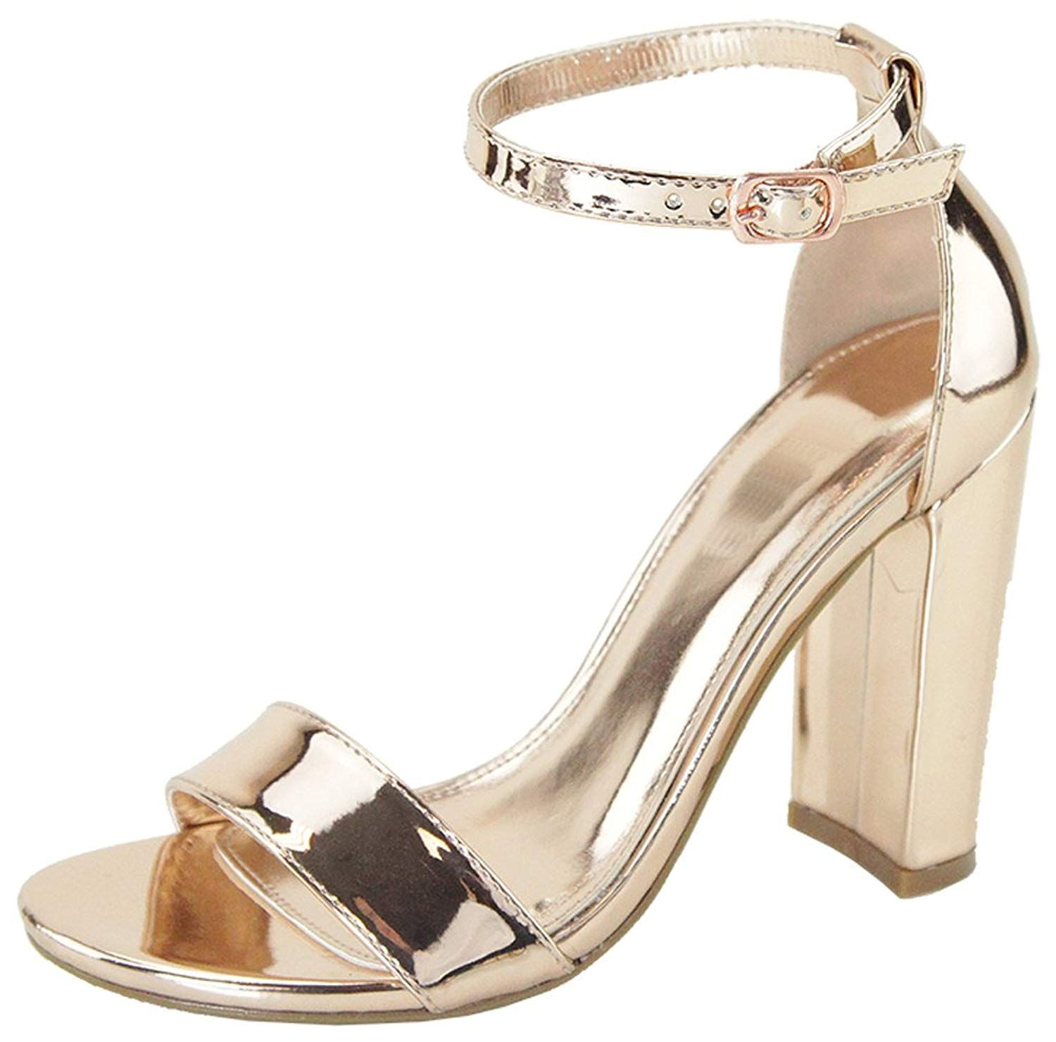 e69887434bc Cambridge Select Women s Single Band Buckle Open Toe Ankle Strap Chunky  Wrapped Block High Heel Sandal
