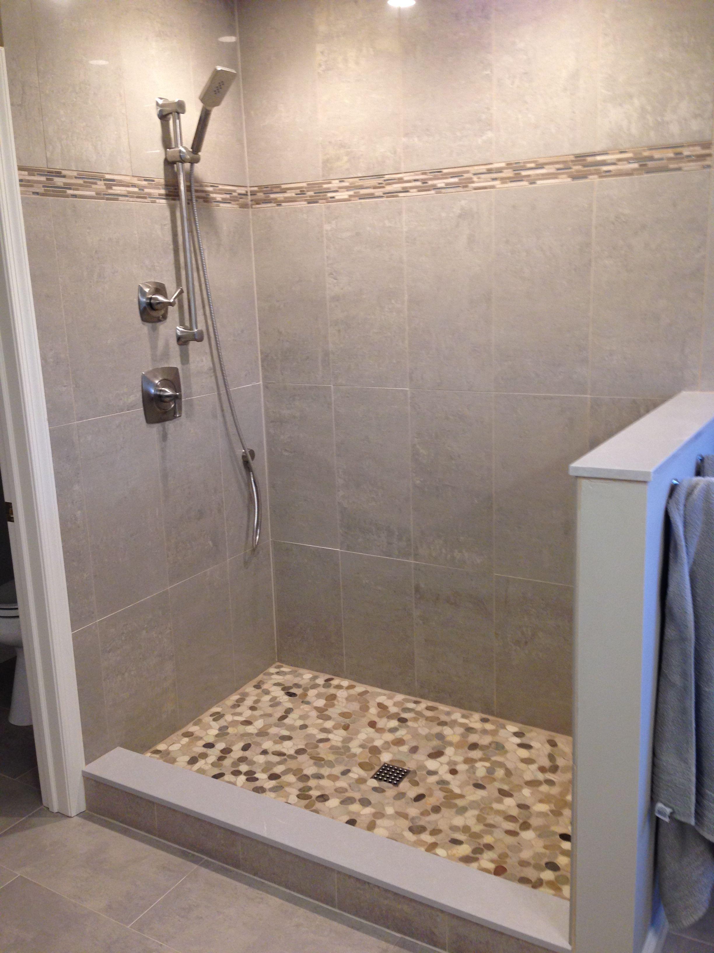 Avstile Com Nice Walk In Shower With 12 X 24 Porcelain Tile And Flat Pebble Shower Floor Pebble Shower Floor Shower Floor Shower Remodel