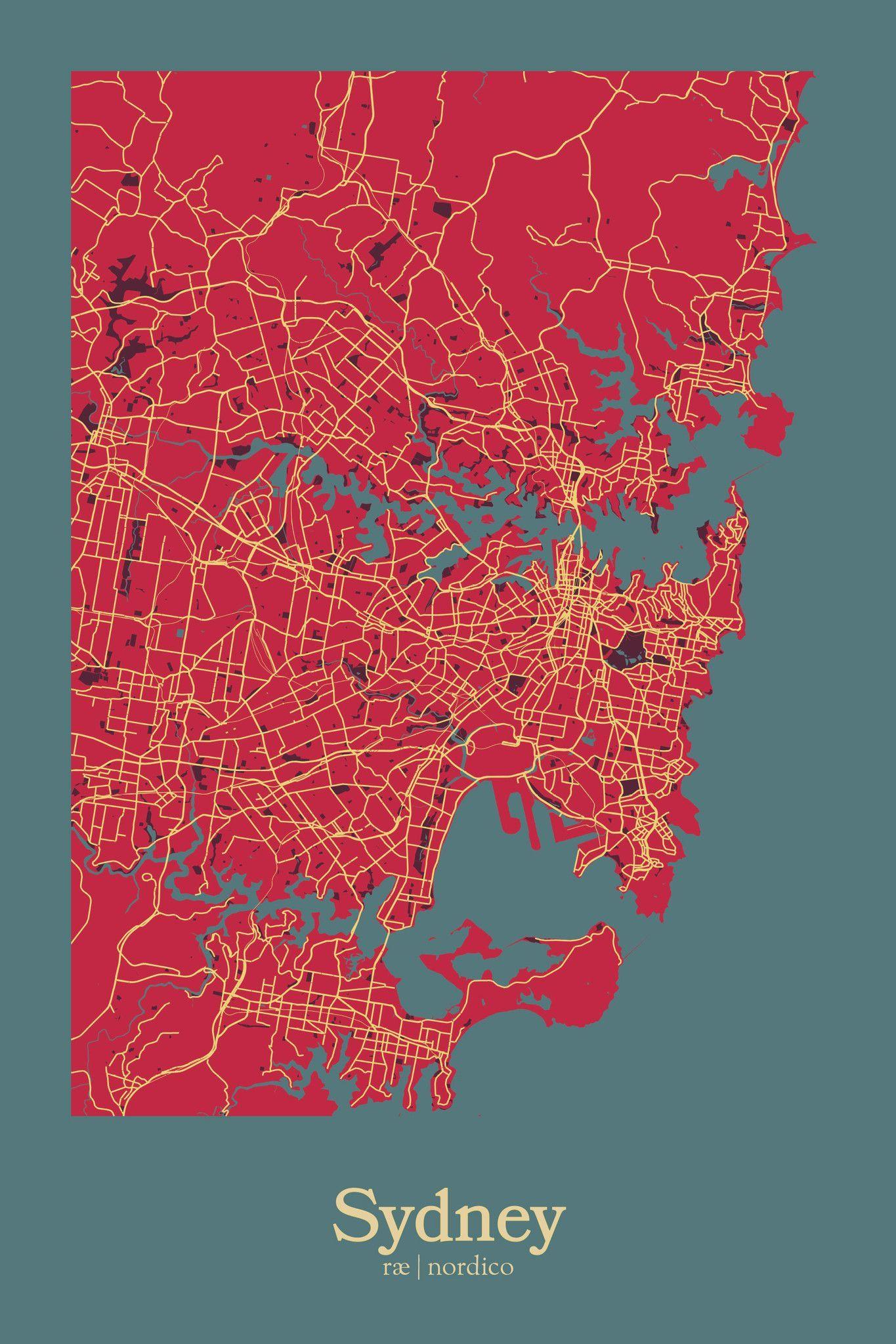 Sydney Australia Map Print Citiez Pinterest Australia map