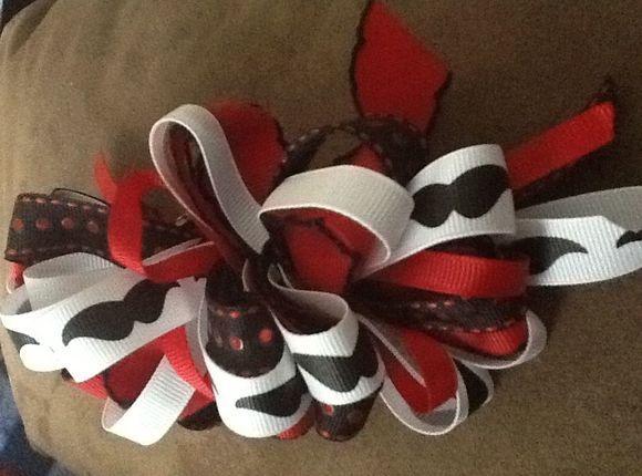 mustache hair bow blacksilk ribbon diy hairbows pinterest