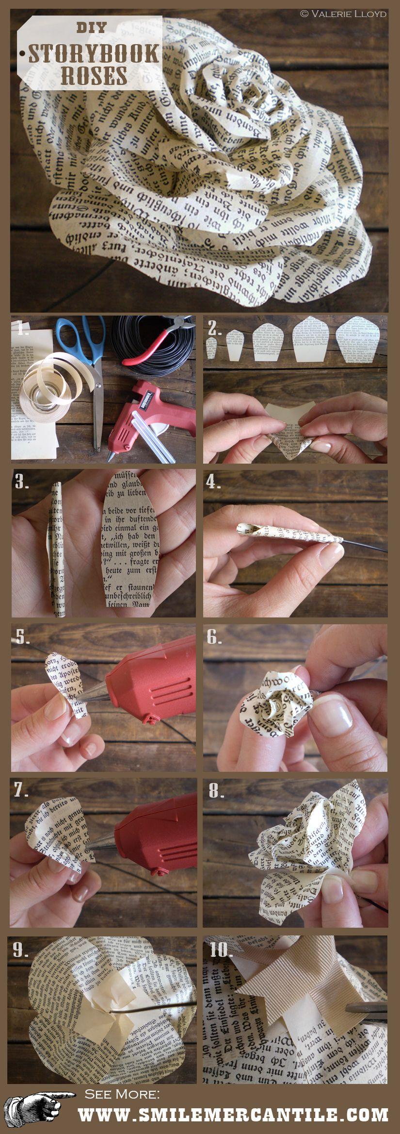 Paper Flower Tutorial: Storybook Paper Roses #paperflowersdiy