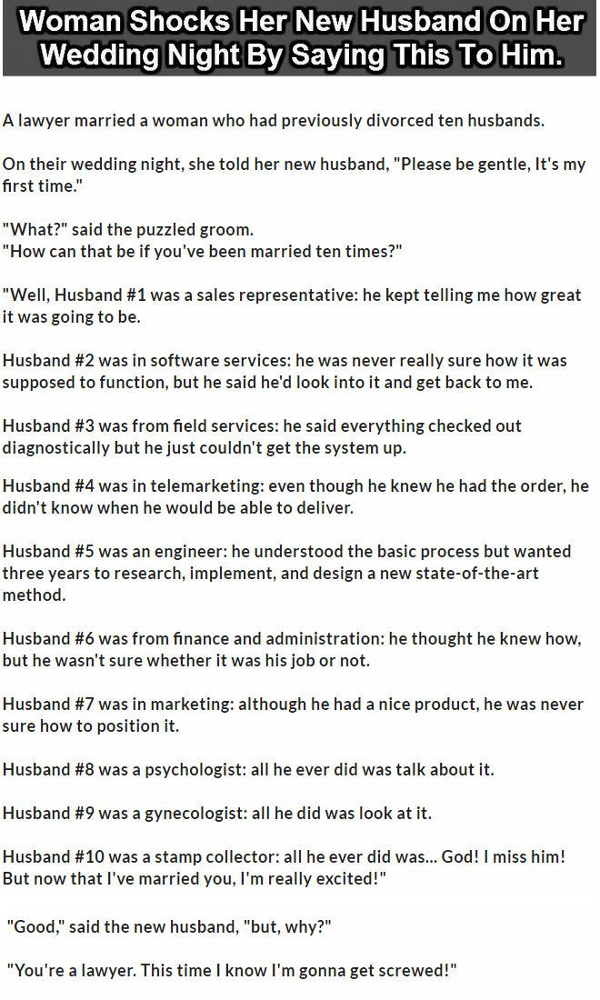 Woman Shocked Her New Husband On Wedding Night By Saying This To Him Funny Jokes Story Lol Quote Quotes Sayings Joke Humor Stories