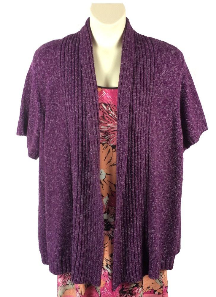 Womens Lane Bryant Marled Purple Cardigan Sweater Plus Size 22/24W ...