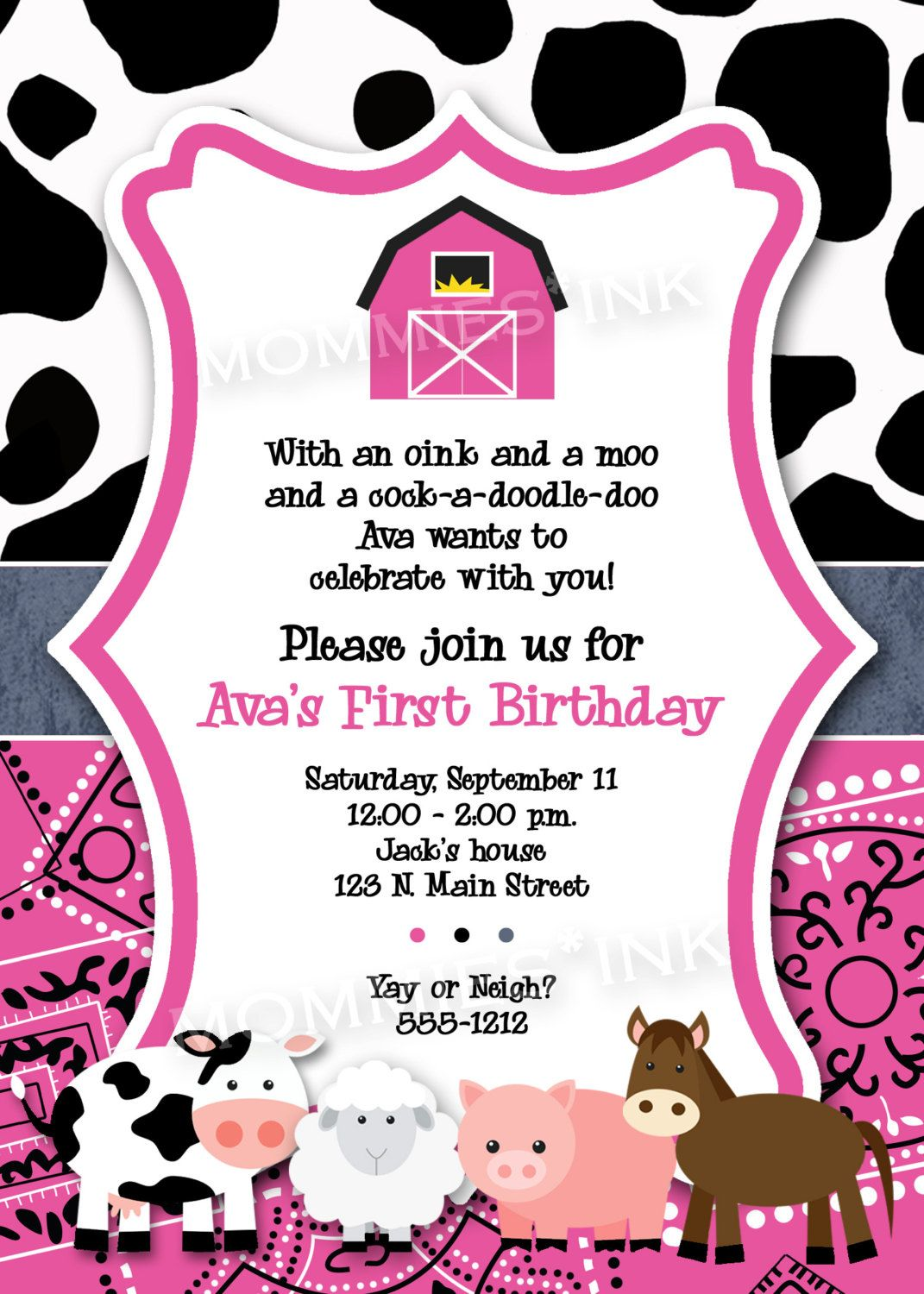 Pink Farm Birthday Invitation, First Birthday Invitation, Farm ...