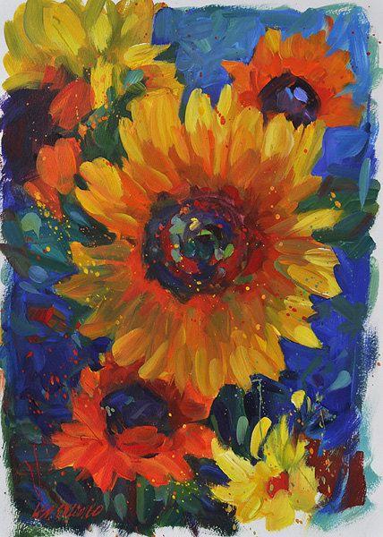 "Contemporary ORIGINAL sunflower painting by American Impressionist Lisa Palombo. ""Sunflower Celebration,"" 19""x13"".. $330.00, via Etsy."