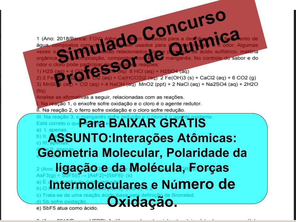 Descricao As Questoes Sao Para Concurso De Professor De Quimica