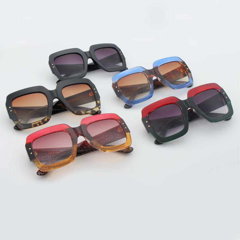 46cdfc58f RSSELDN Enormes óculos de Sol Quadrados Mulheres Lente Gradiente de Moda  Óculos de Sol Para As
