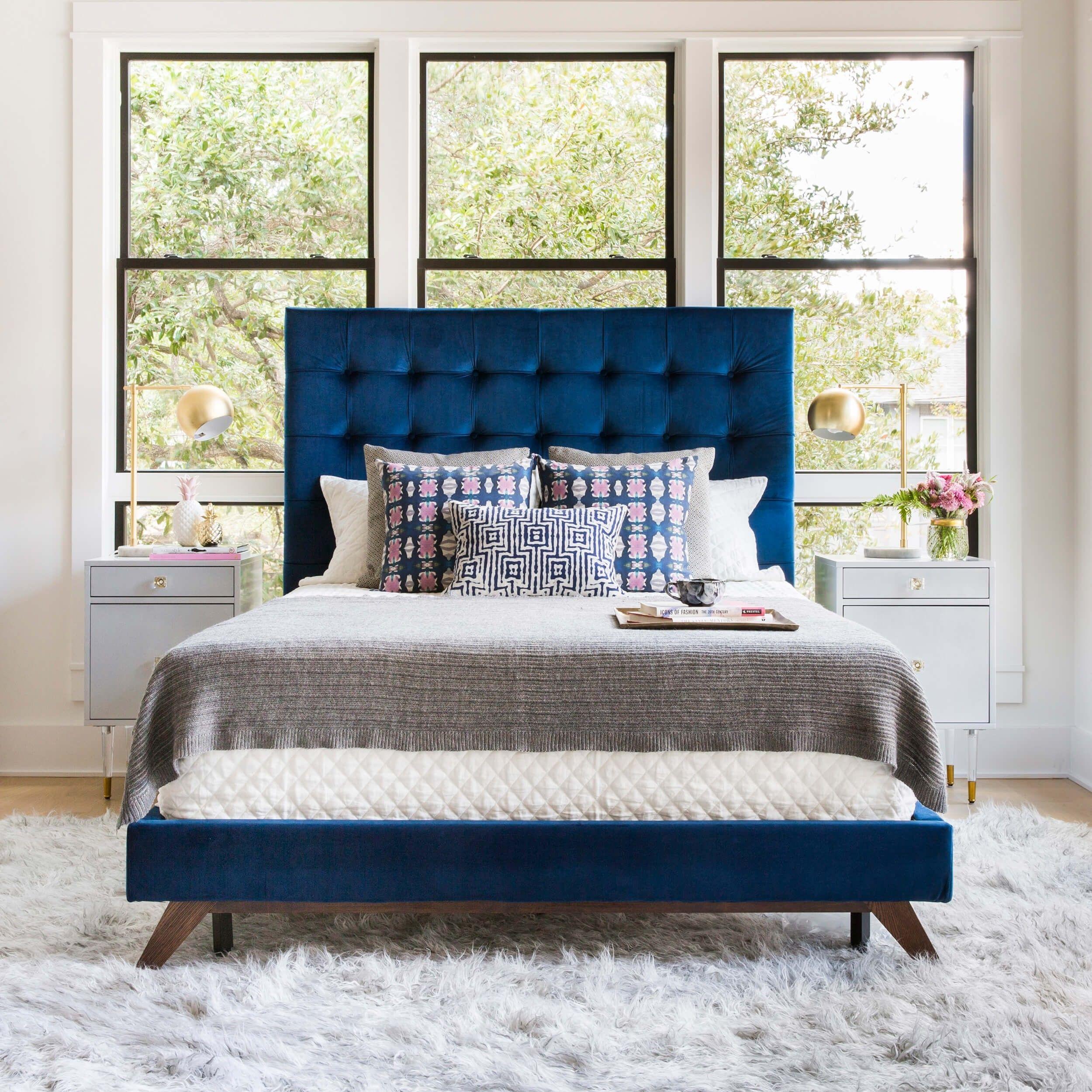 Eden Bed Navy Reves Bleus Bedroom Room Ideas Luxury