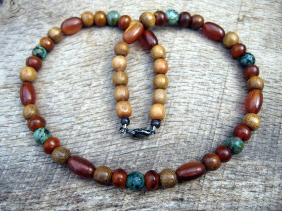 Mens surfer necklace African turquoise horn by thehappymushroom
