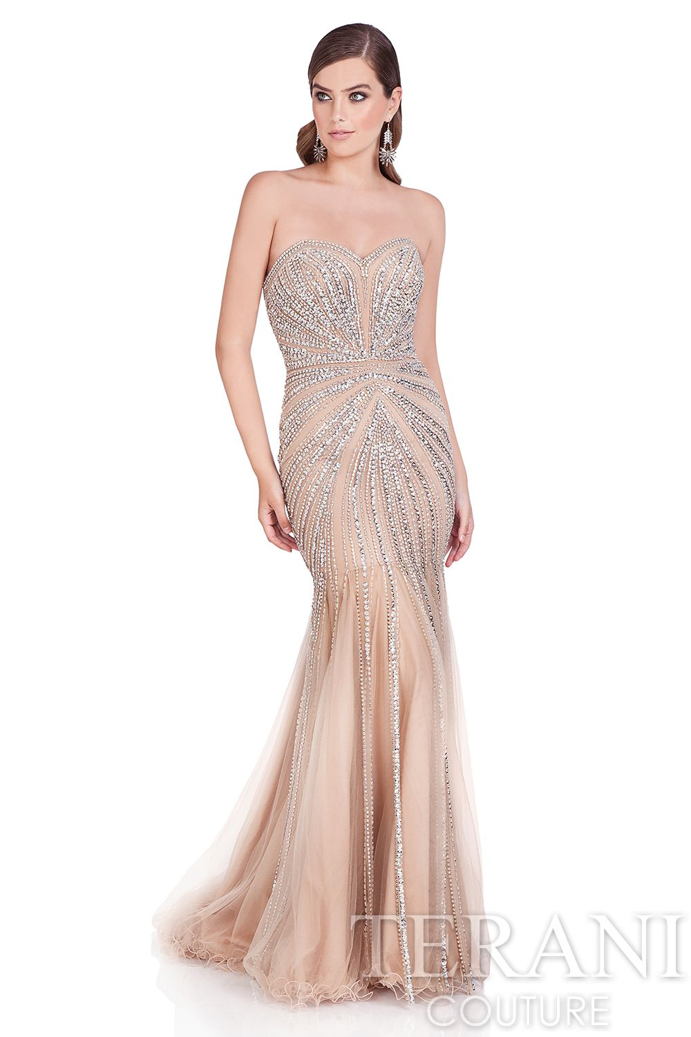 Strapless sweetheart pageant gown with linear burst bead work