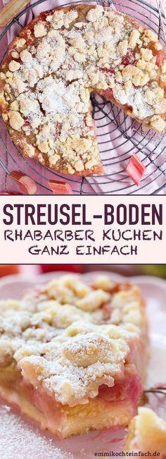 Streuselboden Kuchen mit Rhabarber - emmikochteinfach